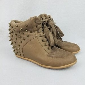Studded Wedge Fashion Sneakers